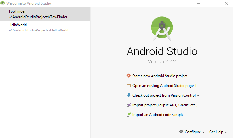 android studio main windows